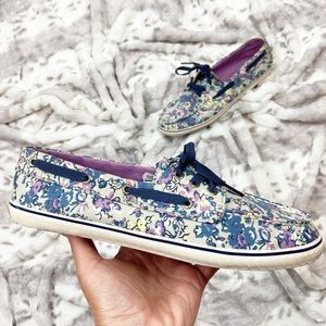 Sperry Top-Sider Purple/Navy Floral Boat Shoes 8.5